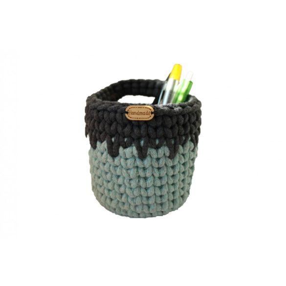 Horgolt tolltartó - menta zöld, szürke szín