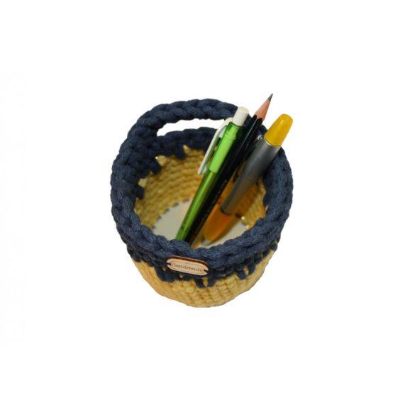 Horgolt tolltartó - sárga/arany szállal, farmerkék szín