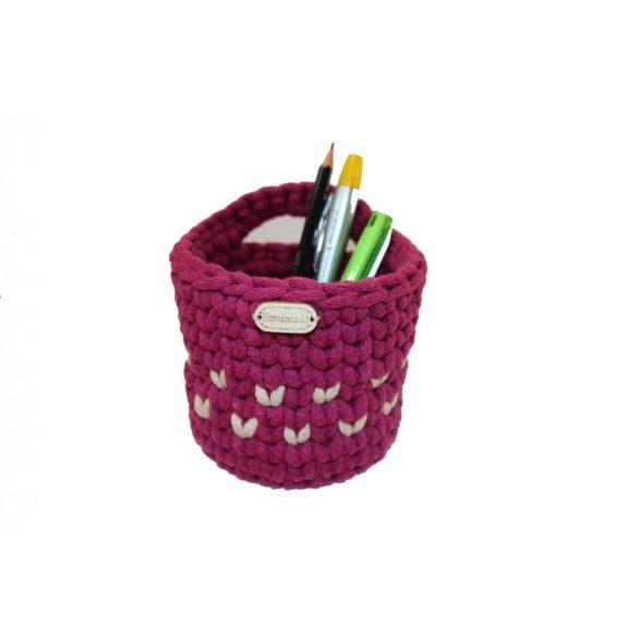 Horgolt tolltartó - szeder, bézs szín