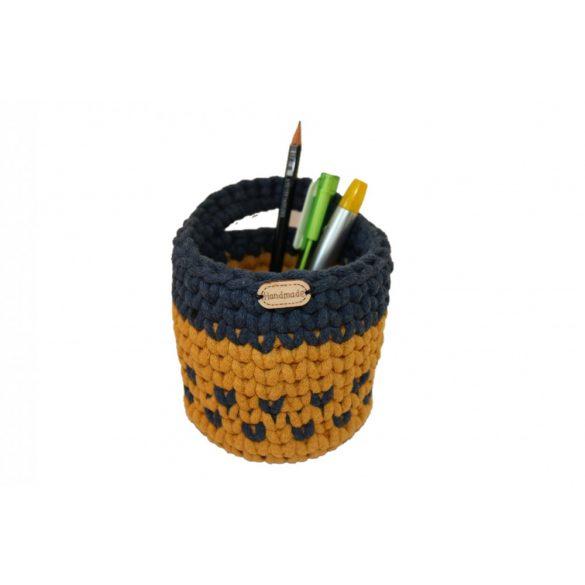 Horgolt tolltartó - mustár sárga, farmerkék szín, mintás