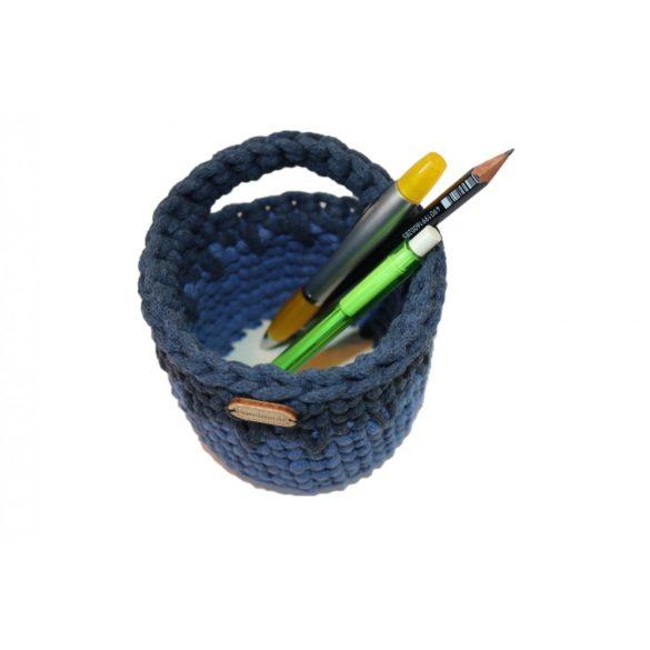 Horgolt tolltartó - kék, farmerkék szín
