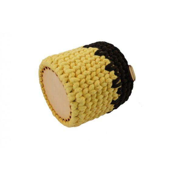 Horgolt tolltartó - sárga/arany szállal, sötétbarna szín