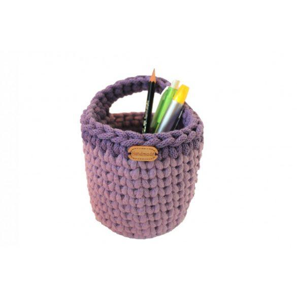 Horgolt tolltartó - levendula, lila szín