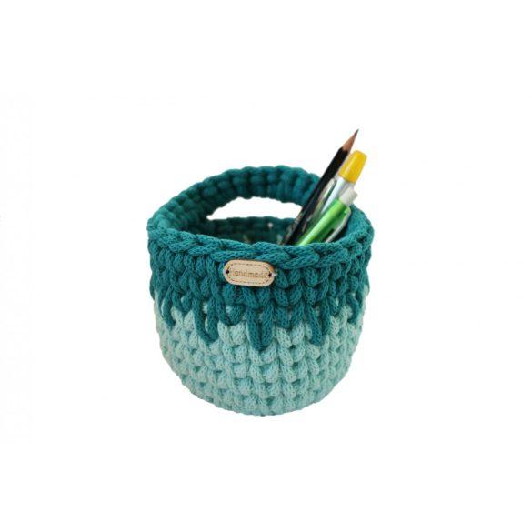 Horgolt tolltartó - menta zöld, türkiz szín