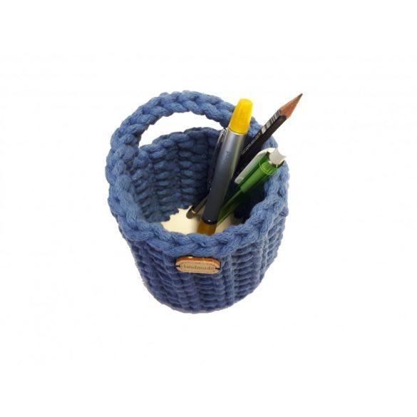 Horgolt tolltartó - kék szín