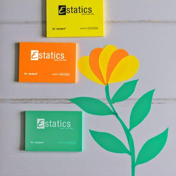 Estatics kártya szett 1 L (kék/zöld/sárga/narancs) + 1 SlickyOne vágott hegyű filc, fekete 2-6 mm-es
