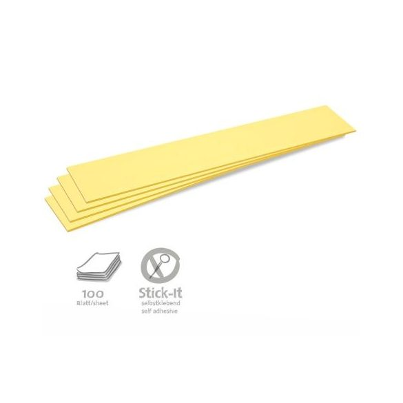 Stick-It Feliratcsík öntapadós moderációs kártya 100 db sárga