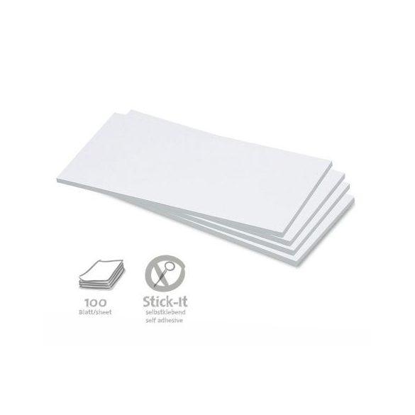 100 Rectangular Stick-It Cards, white