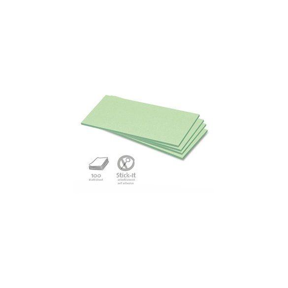 Stick-It Téglalap öntapadós 9,5x20,5 cm moderációs kártya 100 db zöld