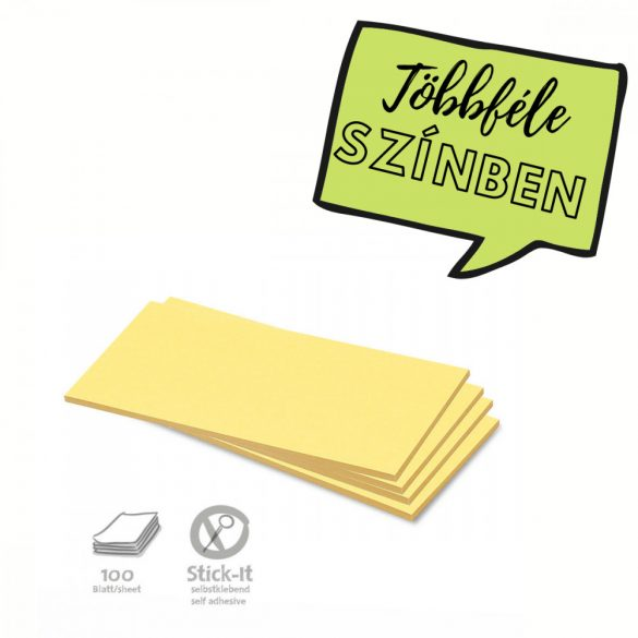 Stick-It Téglalap öntapadós 9,5x20,5 cm moderációs kártya 100 db sárga