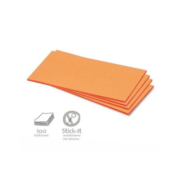 Stick-It Téglalap öntapadós 9,5x20,5 cm moderációs kártya 100 db narancs