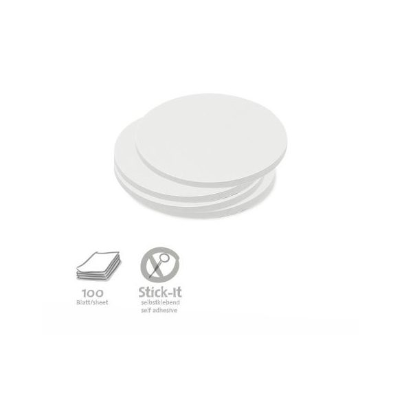 Stick-It Kiskör 9,5 cm öntapadós moderációs kártya 100 db fehér