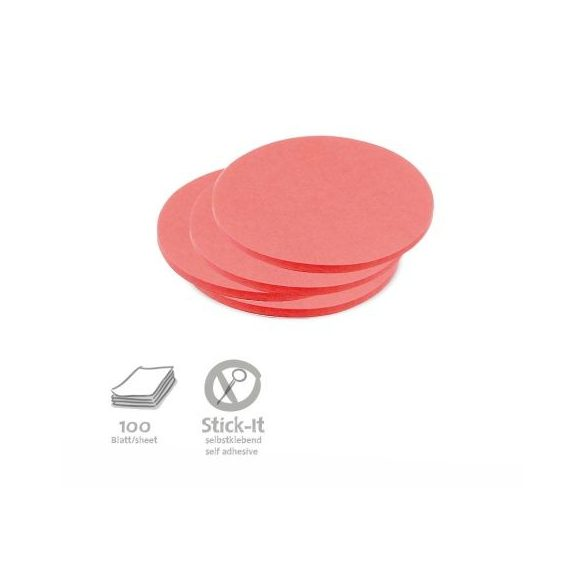 100 Small Circular Stick-It Cards, red