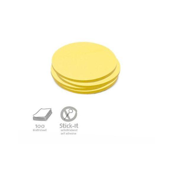 Stick-It Kiskör 9,5 cm öntapadós moderációs kártya 100 db sárga