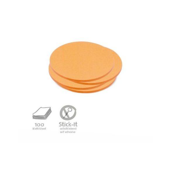 Stick-It Kiskör 9,5 cm öntapadós moderációs kártya 100 db narancs