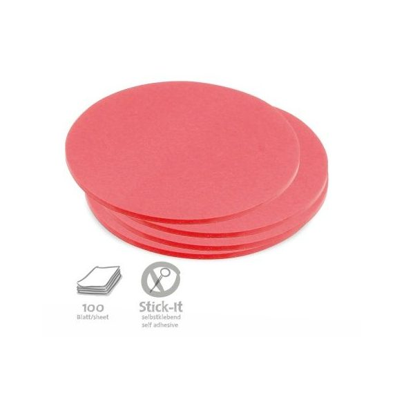 100 Medium Circular Stick-It Cards, red