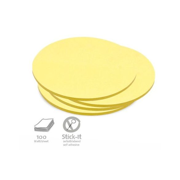 100 Medium Circular Stick-It Cards, yellow