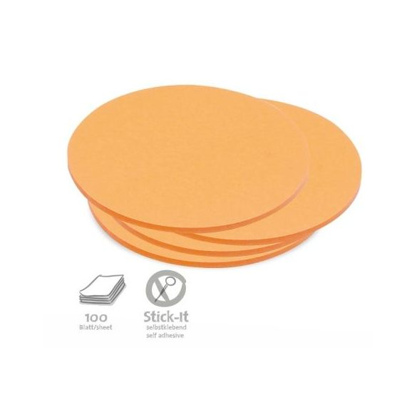 100 Medium Circular Stick-It Cards, orange