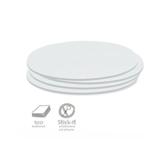 100 Oval Stick-It Cards, white