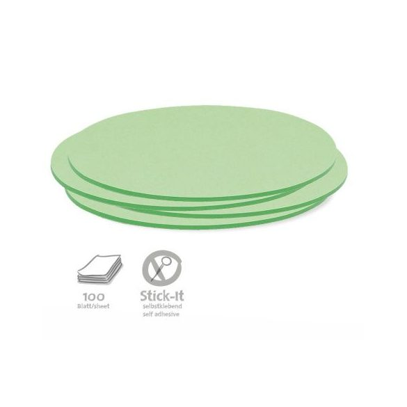 100 Oval Stick-It Cards, green