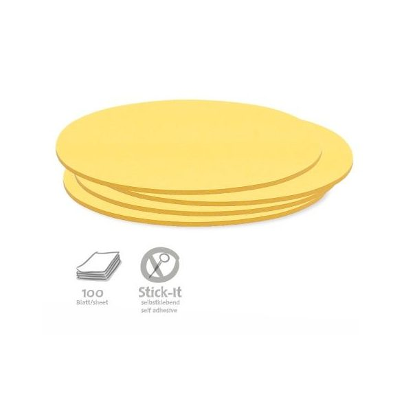 100 Oval Stick-It Cards, yellow