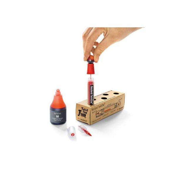 Neuland TwinOne®, vágott és ecsethegyű moderációs marker, piros 80410200