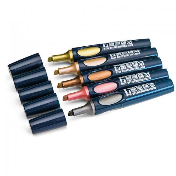 Neuland No.One® Metallic, 2-6 mm vágott hegyű markerek - 5-ös szett Glamour